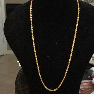 Rope chain gold tone necklace